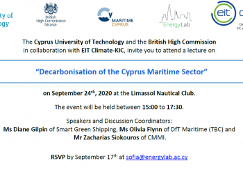 Decarbonisation of the Cyprus Maritime Sector – 24/09 @ 15.00